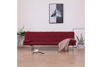 Sofa Bed with Two Pillows Wine Red Polyester