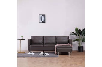 3-Seater Sofa with Cushions Grey Faux Leather