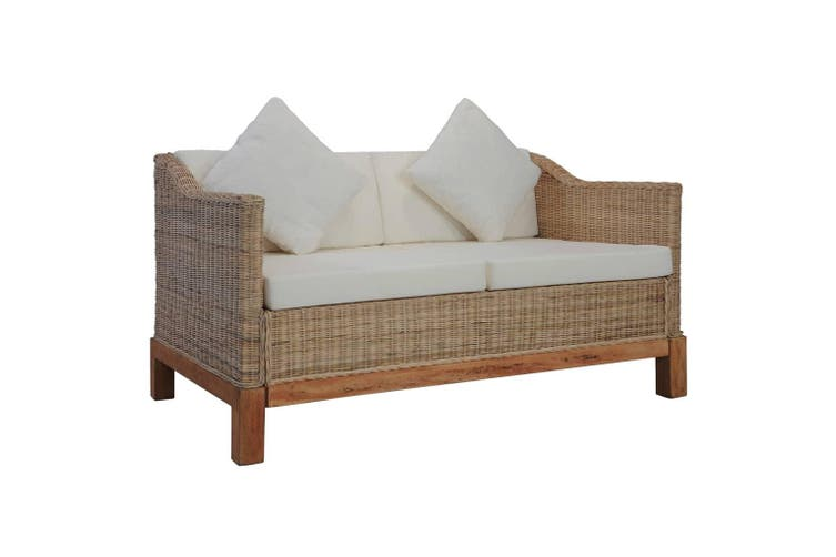 2-Seater Sofa with Cushions Natural Rattan