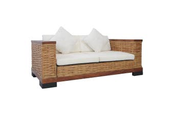 2-Seater Sofa with Cushions Brown Natural Rattan