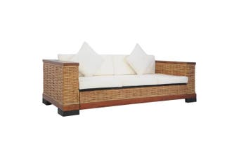 3-Seater Sofa with Cushions Brown Natural Rattan