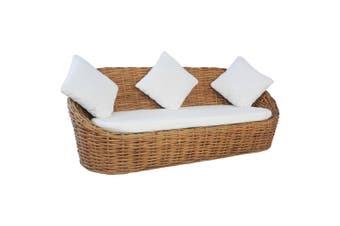 3-Seater Sofa with Cushions Natural Rattan