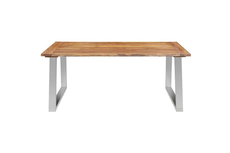 Dining Table 180x90x75 cm Solid Acacia Wood and Stainless Steel