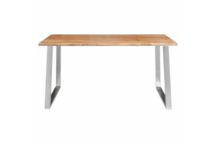 Dining Table 160x80x75 cm Solid Acacia Wood and Stainless Steel