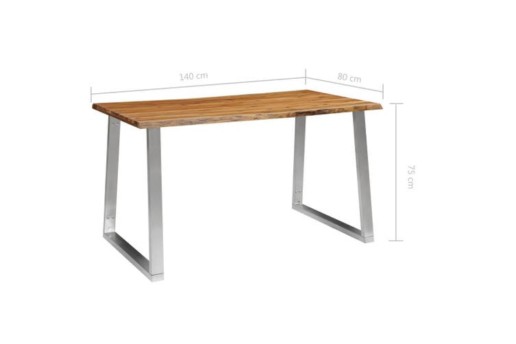 Dining Table 140x80x75 cm Solid Acacia Wood and Stainless Steel