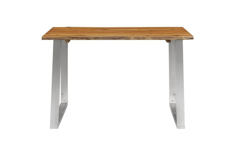 Dining Table 120x65x75 cm Solid Acacia Wood and Stainless Steel