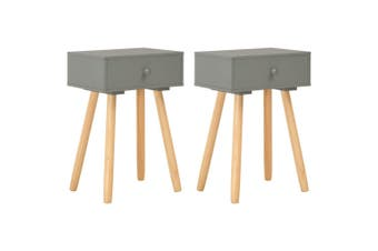 Bedside Tables 2 pcs Grey Solid Pinewood