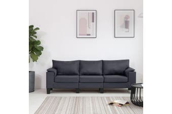 3-Seater Sofa Dark Grey Fabric