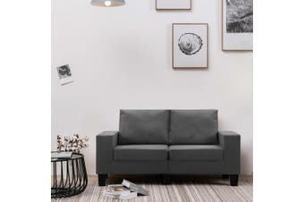 2-Seater Sofa Dark Grey Fabric