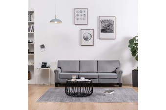 3-Seater Sofa Light Grey Fabric