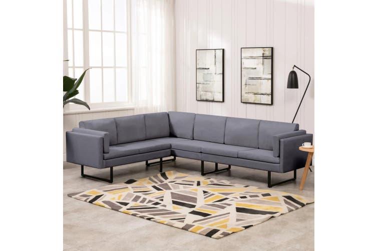 Corner Sofa Light Grey Fabric