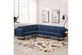 Corner Sofa Blue Fabric