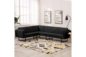 Corner Sofa Black Fabric