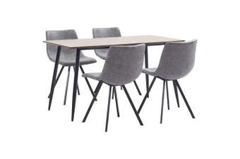 5 Piece Dining Set Grey Faux Leather