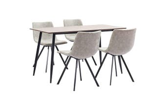 5 Piece Dining Set Light Grey Faux Leather