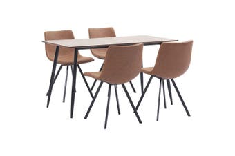 5 Piece Dining Set Medium Brown Faux Leather