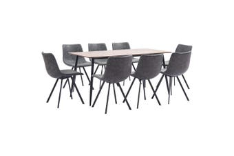9 Piece Dining Set Grey Faux Leather