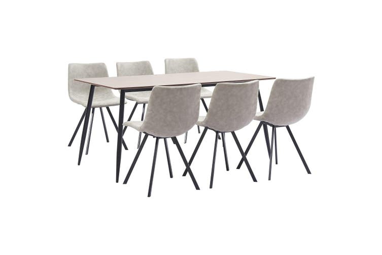 7 Piece Dining Set Light Grey Faux Leather