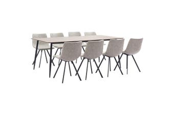 9 Piece Dining Set Light Grey Faux Leather