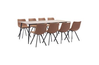9 Piece Dining Set Medium Brown Faux Leather