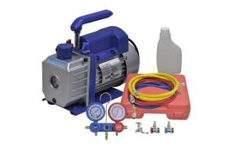 Single Stage Vacuum Pump with 2-Way Manifold Gauge Set