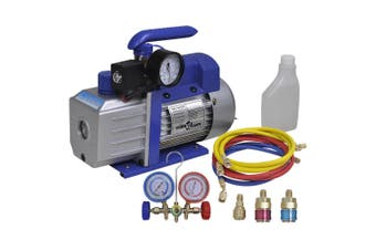 Single Stage Vacuum Pump with 2-Way Manifold Gauge Set