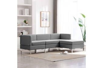 4 Piece Sofa Set Fabric Light Grey