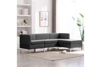 4 Piece Sofa Set Fabric Dark Grey
