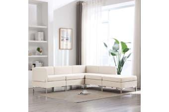 5 Piece Sofa Set Fabric Cream