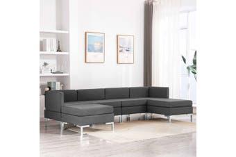 6 Piece Sofa Set Fabric Dark Grey