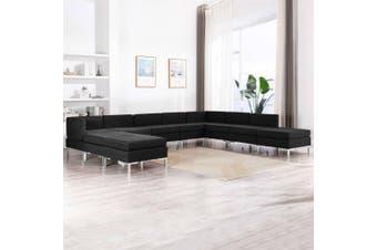10 Piece Sofa Set Fabric Black