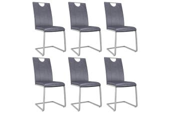 Dining Chairs 6 pcs Suede Grey Faux Leather