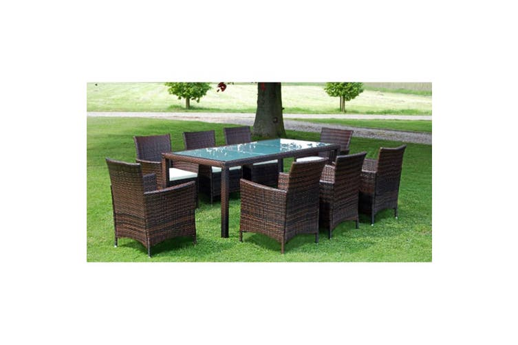 9 Piece Outdoor Dining Set with Cushions Poly Rattan Brown