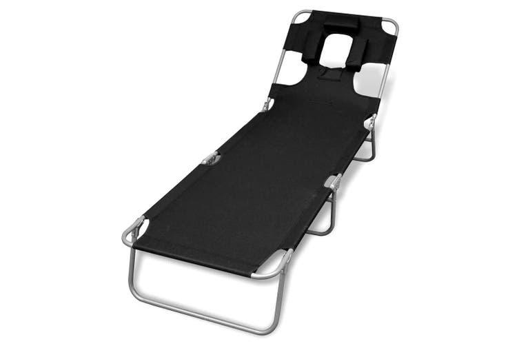 Folding Sun Lounger with Head Cushion Powder-coated Steel Black