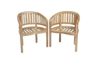Banana Chairs 2 pcs Solid Teak Wood