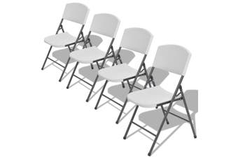 Folding Garden Chairs 4 pcs Steel and HDPE White