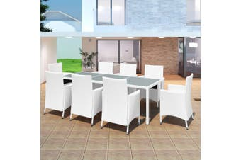 9 Piece Outdoor Dining Set Poly Rattan Cream White