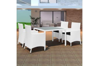 5 Piece Outdoor Dining Set Poly Rattan Cream White