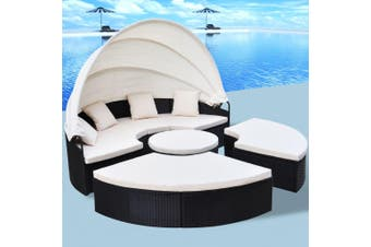 Outdoor Lounge Bed Poly Rattan Black