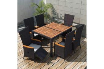 7 Piece Outdoor Dining Set Poly Rattan Acacia Wood Black