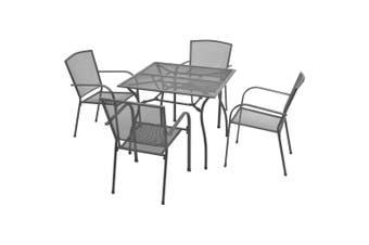 5 Piece Outdoor Dining Set Steel Anthracite