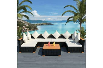7 Piece Garden Lounge Set with Cushions Poly Rattan Black