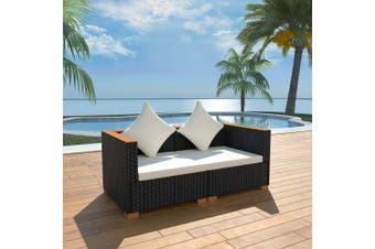 Garden Sofa Poly Rattan Black