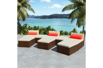 8 Piece Garden Lounge Set with Cushions Poly Rattan Brown