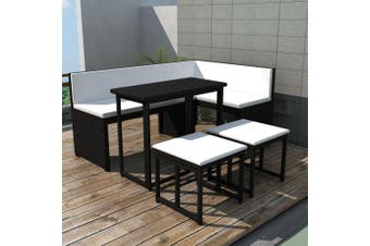 5 Piece Outdoor Dining Set Steel Poly Rattan Black