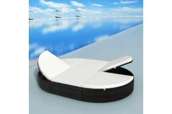 Outdoor Lounge Bed with Cushion Poly Rattan Black