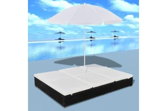 Outdoor Lounge Bed with Umbrella Poly Rattan Black