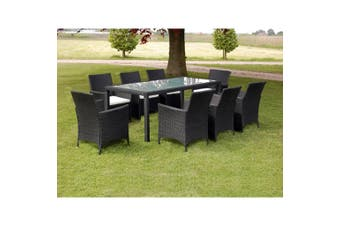 9 Piece Outdoor Dining Set with Cushions Poly Rattan Black