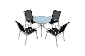 5 Piece Outdoor Dining Set Steel Black