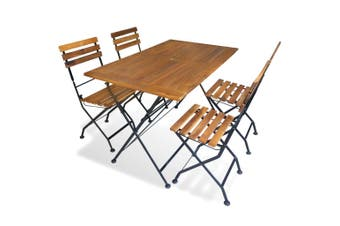5 Piece Folding Outdoor Dining Set Solid Acacia Wood